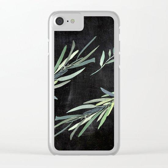 Eucalyptus leaves on chalkboard Clear iPhone Case