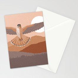 Kestrel flying in the sky bird of prey soft tones Stationery Cards