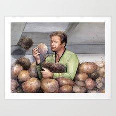 Captain Kirk and Tribbles Sci-Fi Portrait Art Print