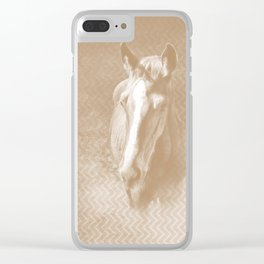 Horse emerging from the mist in iced coffee beige Clear iPhone Case