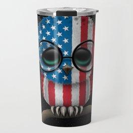 Baby Owl with Glasses and American Flag Travel Mug