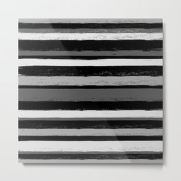 Stripes - Black and White Metal Print