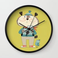 photographer Wall Clocks featuring photographer by kate hindley