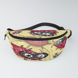 some quirky ladybugs and a couple of cute bees, pink coral yellow red black white Fanny Pack