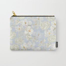 White Floral on Pale Blue Carry-All Pouch