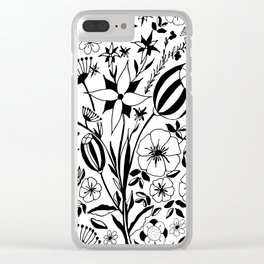 Black and white floral bouquet, hand-drawn Clear iPhone Case