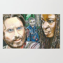 Richonne and 3 random zombies Rug