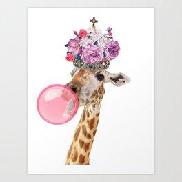 Giraffe in crown of flowers Art Print