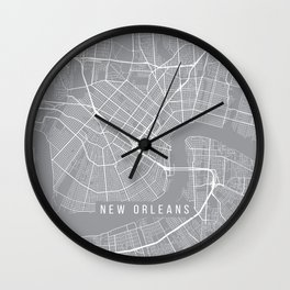 New Orleans Map, Louisiana USA - Pewter Wall Clock