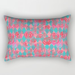 Argyle Pattern with pink abstract flowers Rectangular Pillow
