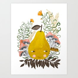 Winter pear with flowers and mushrooms watercolor illustration Art Print