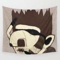 racoon Wall Tapestries featuring Raino Racoon by René Barth