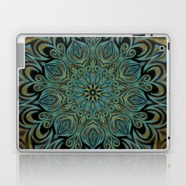 Teal and Gold Mandala Swirl Laptop & iPad Skin