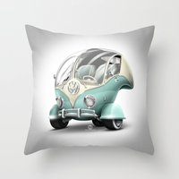 volkswagen Throw Pillows featuring Volkswagen Bubble by Marcelo Schultz