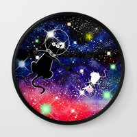 space cat Wall Clocks featuring Space Cat by Andrew Hitchen