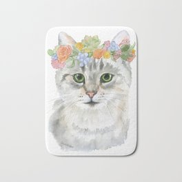 Gray Tabby Cat Floral Wreath Watercolor Bath Mat