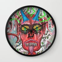 whiskey Wall Clocks featuring Whiskey Demons by Pluto00Art / Robin Brennan
