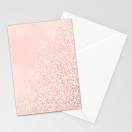 She Sparkles Rose Gold Pastel Pink Luxe Geometric Stationery Cards