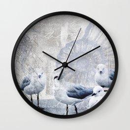 Sea gull ocean mixed media art Wall Clock