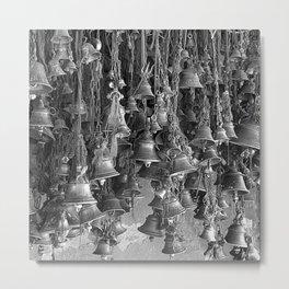 Indian Hanging Prayer Bells, India, Grey scale Metal Print