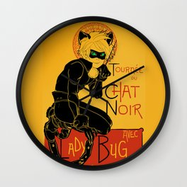 Black Cat and Ladybug Wall Clock