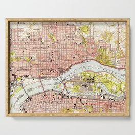 Vintage Map of Davenport Iowa (1953) Serving Tray