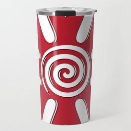 isolated fabric red flower with hearts on leaf  Travel Mug