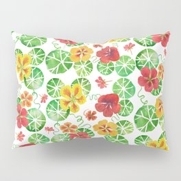 Watercolor Floral Simple Garden Nasturtium Flowers Pillow Sham