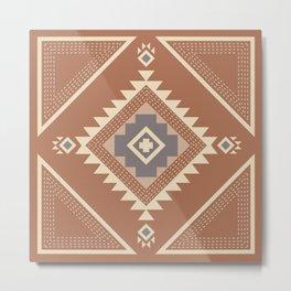 Modern Western Pattern in Hazel and Frost Gray Metal Print