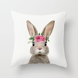 Baby Rabbit with Flower Crown Throw Pillow