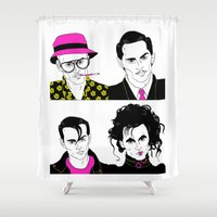 johnny depp Shower Curtains featuring Johnny Depp Chameleon by Lizz Buma