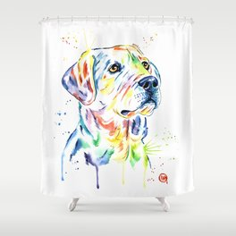 Yellow Lab Colorful Watercolor Painting - Puppy Star Shower Curtain