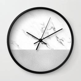 White Marble with Black and Grey Silver Stripe Wall Clock