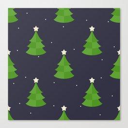Green Christmas Tree Pattern Canvas Print
