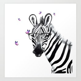 Zebra with glasses and butteflies, zebra art, nursery, baby wall art Art Print