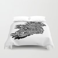 ireland Duvet Covers featuring Typographic Ireland by CAPow!