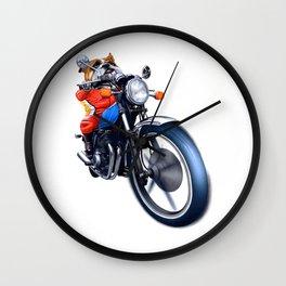A BULLDOG RIDING BIKE Wall Clock