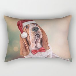 Drawing funny dog. Basset Hound in red hat of Santa Claus Rectangular Pillow