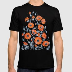 Red poppies in grey MEDIUM Mens Fitted Tee Black