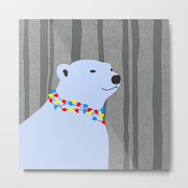 Polar Bear Holiday Design Metal Print