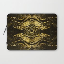 All Seeing eye golden texture on aged wood Laptop Sleeve