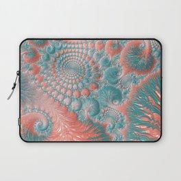 Abstract Living Coral Reef Nautilus Pastel Teal Blue Orange Spiral Swirl Pattern Fractal Fine Art Laptop Sleeve
