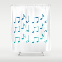 music notes Shower Curtains featuring Music Notes by magnez2