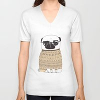 pug V-neck T-shirts featuring Pug  by Phillippa Lola