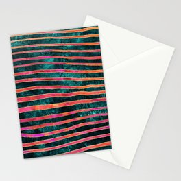 Pattern Play / Stripes on deep turquoise Stationery Cards