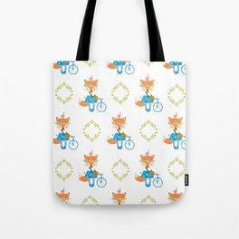 Girl Fox with Bike Pattern Tote Bag