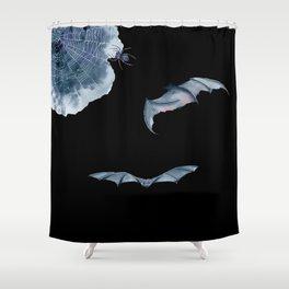Halloween Spider Net Bats Shower Curtain