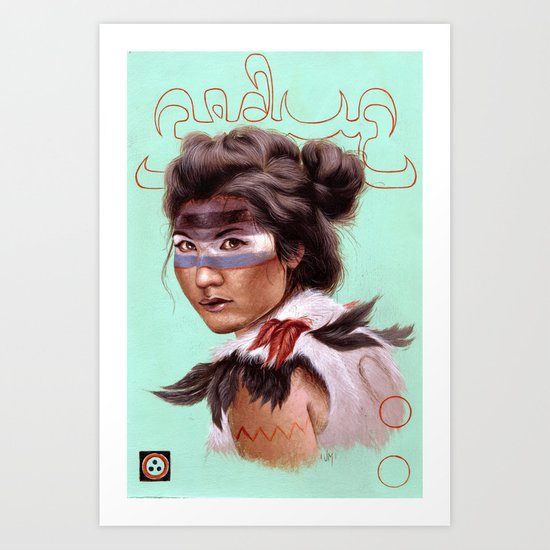 Gobi Gong Farming Girl Art Print