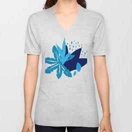 Modern Trendy Blue Leaves Graphic Art Design Unisex V-Neck