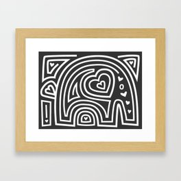 Mola Elephant (Black and White) Framed Art Print